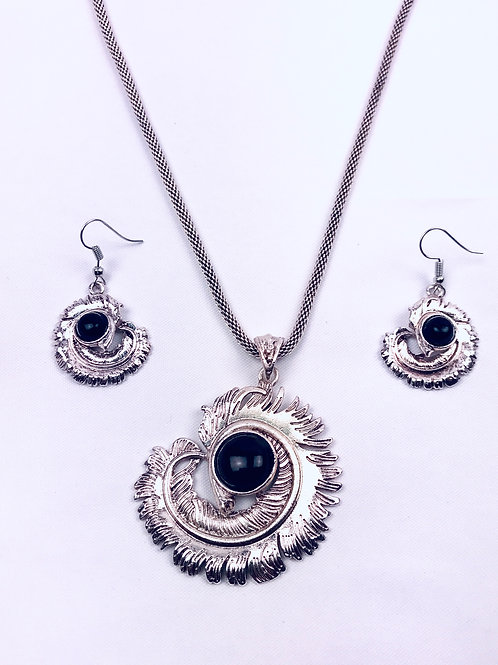 Antique Oxidized German Silver Chain Black Geometric Pendant Necklace & Earrings