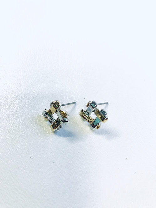 Two Tone Plated Stud Earrings