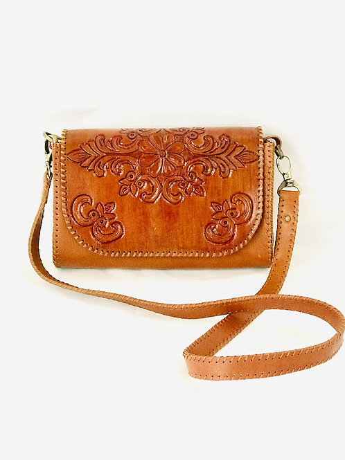 handmade Vintage Etched Leather Small Bag