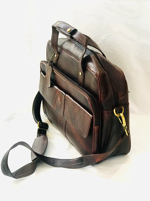 Brown Pebble Leather Laptop Briefcase