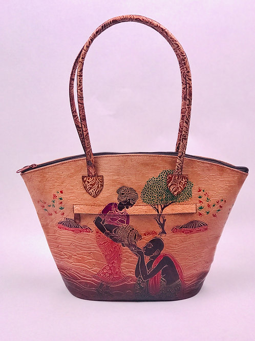 Hand painted Leather Indian Shantiniketan casual shoulder bag Vintage