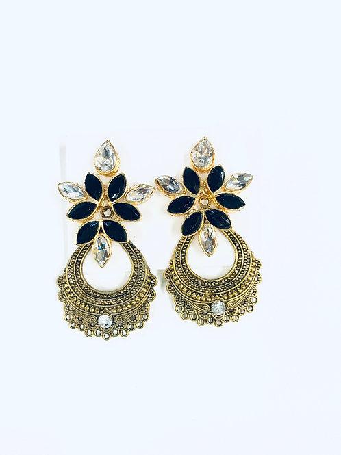 Tanishka Fashion Black Kundan stone Dangler Earrings