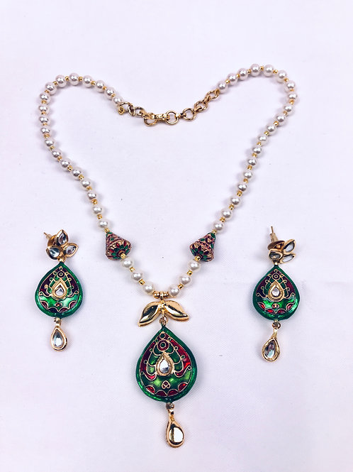 Traditional Meenakari Moti Necklace With Earrings