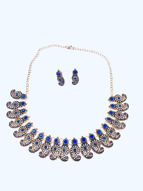 German Silver Blue Choker Necklace With Earrings