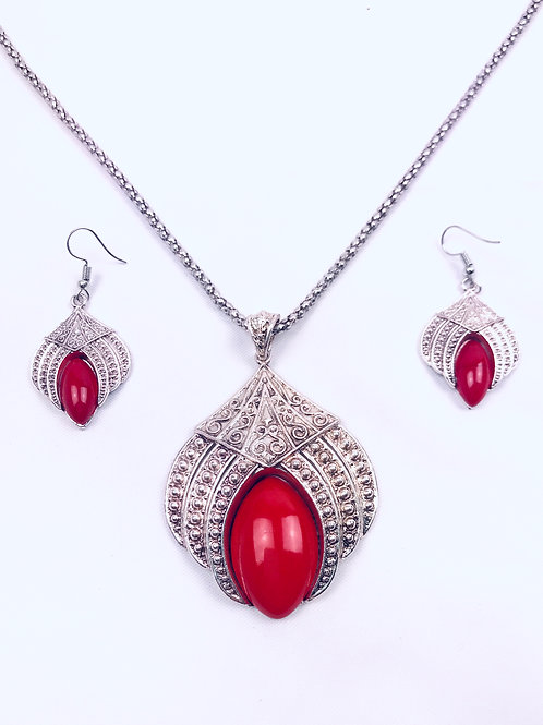 Antique Oxidized German Silver Chain Red Lotus Pendant Necklace with Earrings