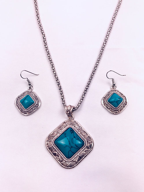 Antique Oxidized German Silver Chain Turquoise Pendant Necklace & Earrings