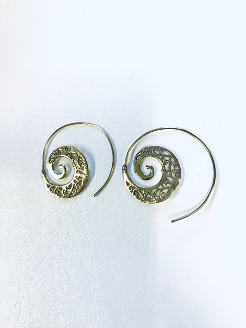 Brass Tribal Hoop Earrings Golden