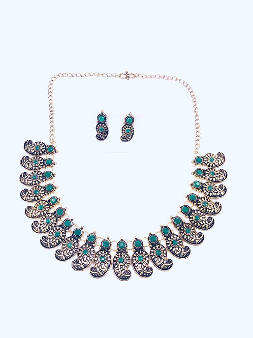 German Silver Green Choker Necklace With Earrings