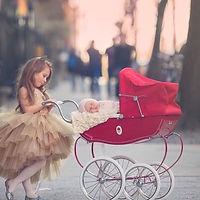 коляска для кукол, коляска красная, коляска