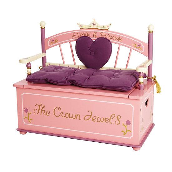 Деревянный диван с хранением для игрушек (фиолетовый)