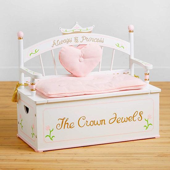 Деревянный диван с хранением для игрушек (светло-розовый)