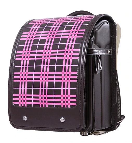 Школьный портфель (коричневый в розовую клетку)