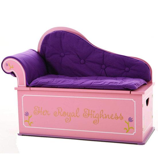 Деревянная кушетка со спинкой и хранением для игрушек (фиолетовый)