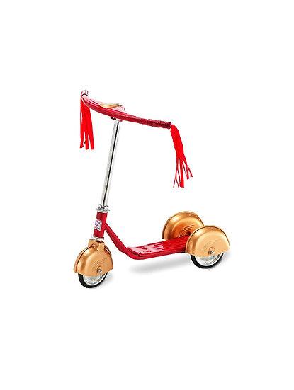 Трехколесный самокат в ретро стиле RED / GOLD