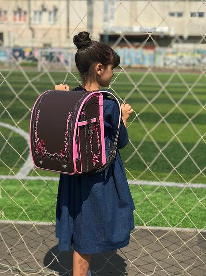 Школьный портфель (коричневый с бантиками)