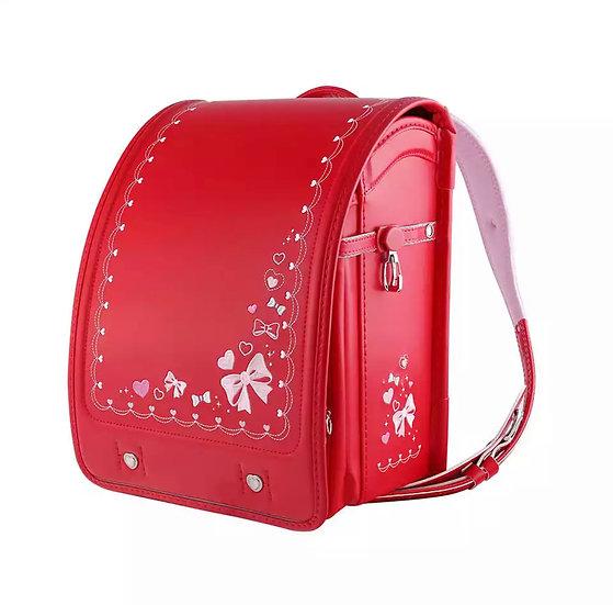 Школьный портфель (Красный с бантиками)