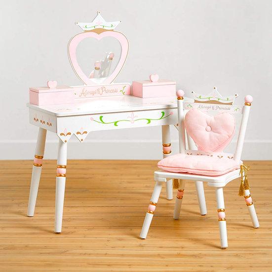 Детский столик с зеркалом и со стулом (розовато-розовой)