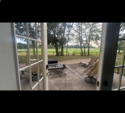 Large deck with amazing pasture views out the french doors