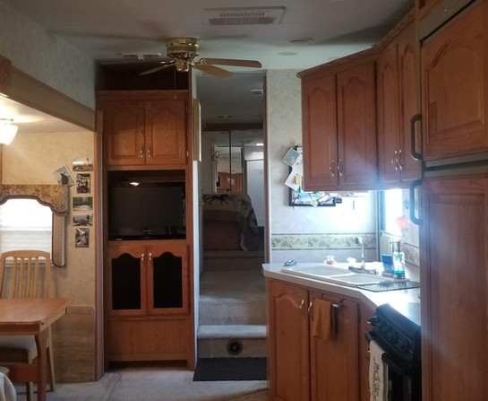 RV camper at campgrounds for rental on the ranch