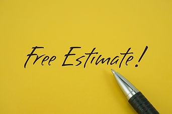 Free Estimate! note with pen on yellow b
