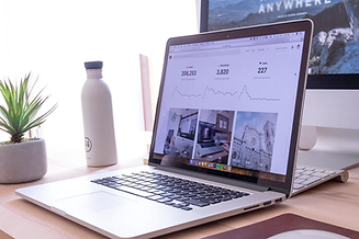 Macbook with blogs on screen next to a white water bottle and plant