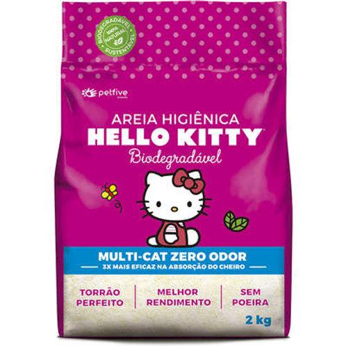Areia Sanitária Hello Kitty Bio Fina Rosa - 2 Kg