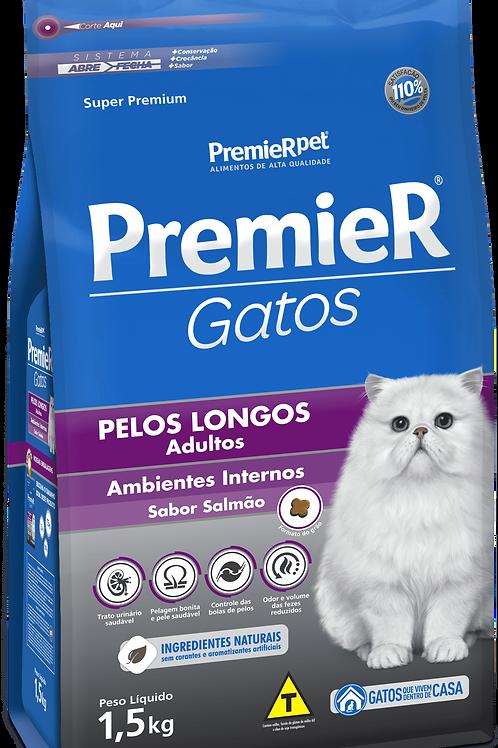 Ração Premier Ambientes Internos Gatos Adultos Pelos Longos 1,5Kg