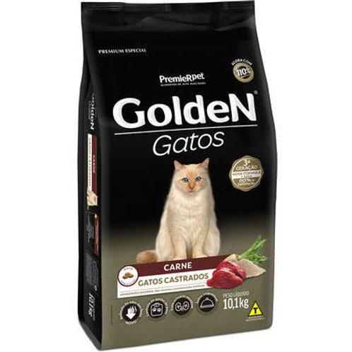 Ração Golden Gatos Castrado Carne 3 kg