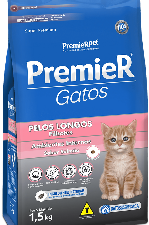 Ração Premier Ambientes Internos Gatos Filhotes Pelos Longos 1,5Kg