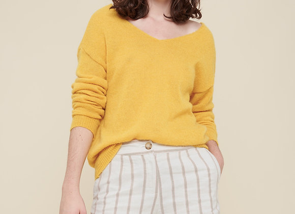Short rayé en coton lin