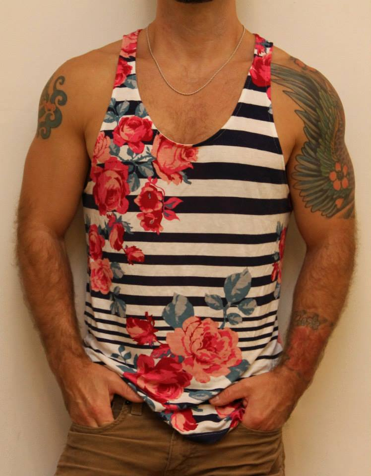 Floral Stripe Men's Tank Top