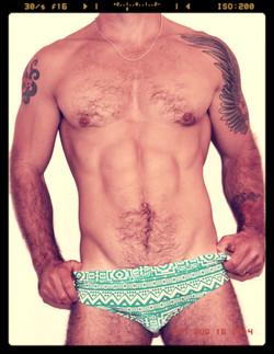 Teal Pattern Swim Shorts