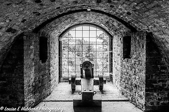 Canon Gun in a window at Fort Amherst