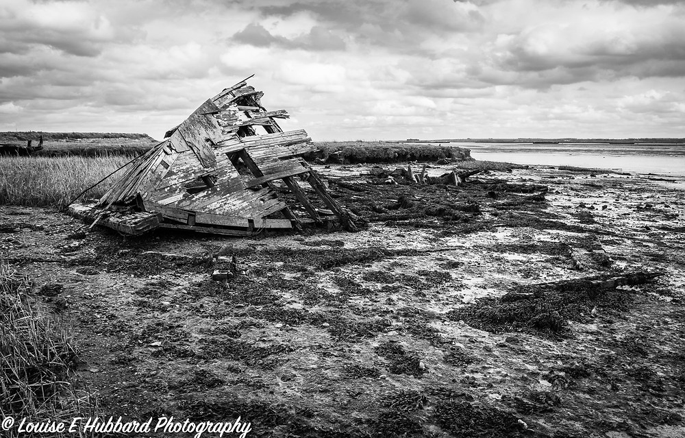 Boat wreck on Hoo Marshes