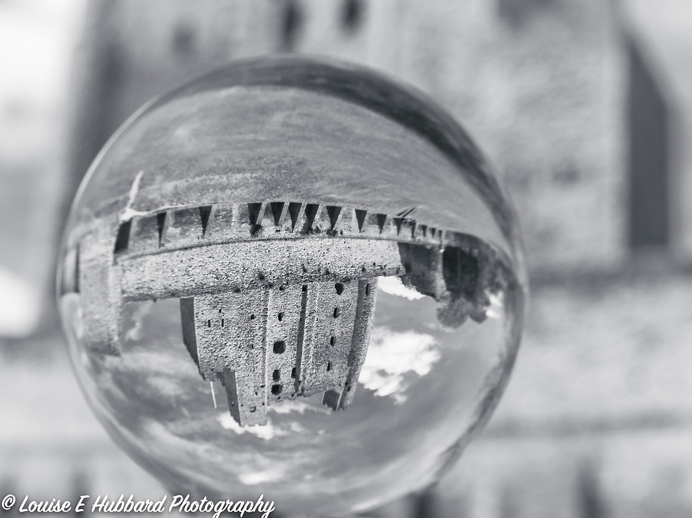 Rochester Castle reflected upside down in a Lens Ball