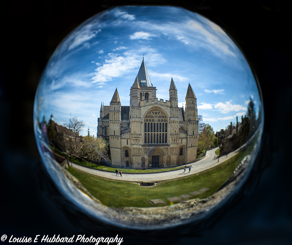 Rochester Cathedral reflected in a lens ball