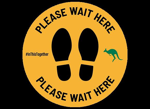 Social Distance Feet - Yellow 260mm Sticker - 5 Stickers Per Pack