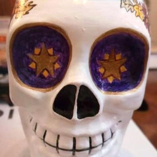 Hand Painted Skull Glass