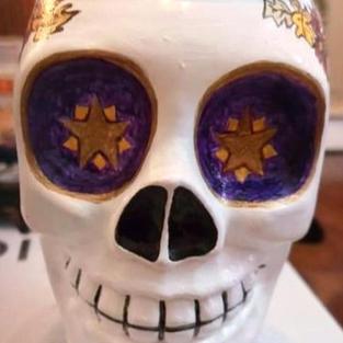 Hand Painted Skull Glass