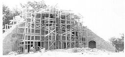 Archived image of Shrine of Our Lady of the Woods Shrine under construction with scaffolding