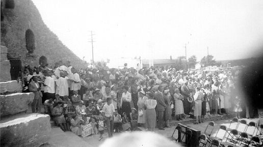 Early outdoor Mass at the Shrine of Our Lady of the Woods, circa 1955.