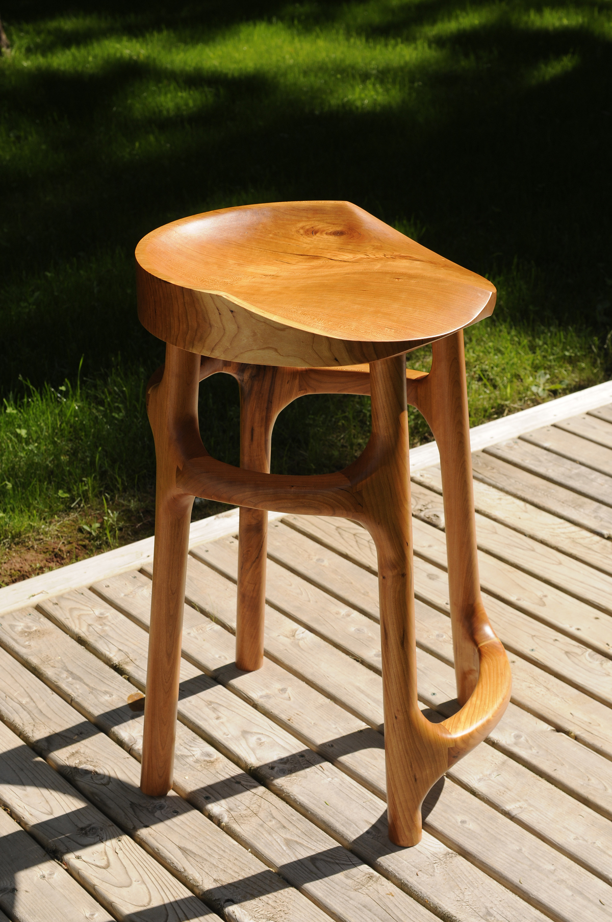 Carved Cherry Stool