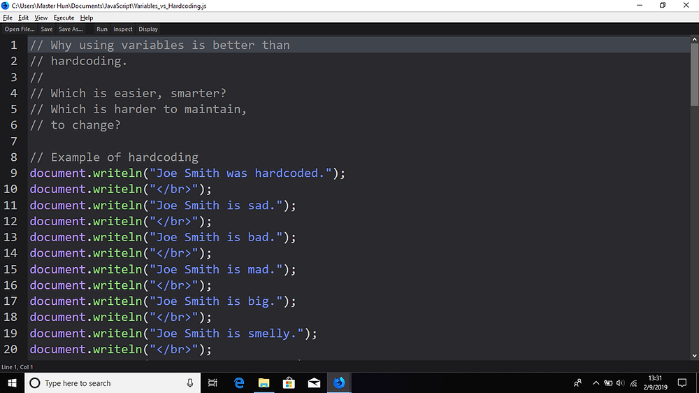 JavaScript code edited in Scratchpad (Firefox).