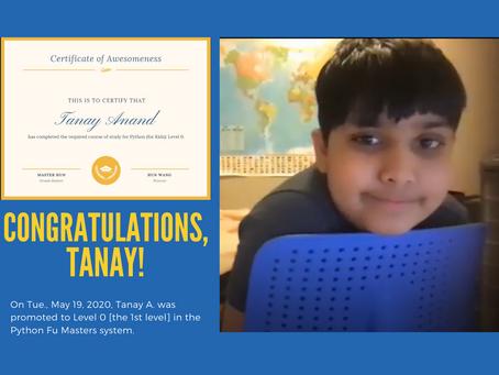 Congratulations, Tanay!