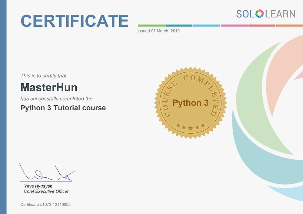 MasterHun's SoloLearn Python 3 Tutorial Certificate