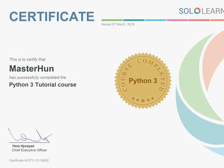 MasterHun's Python 3 Certificate