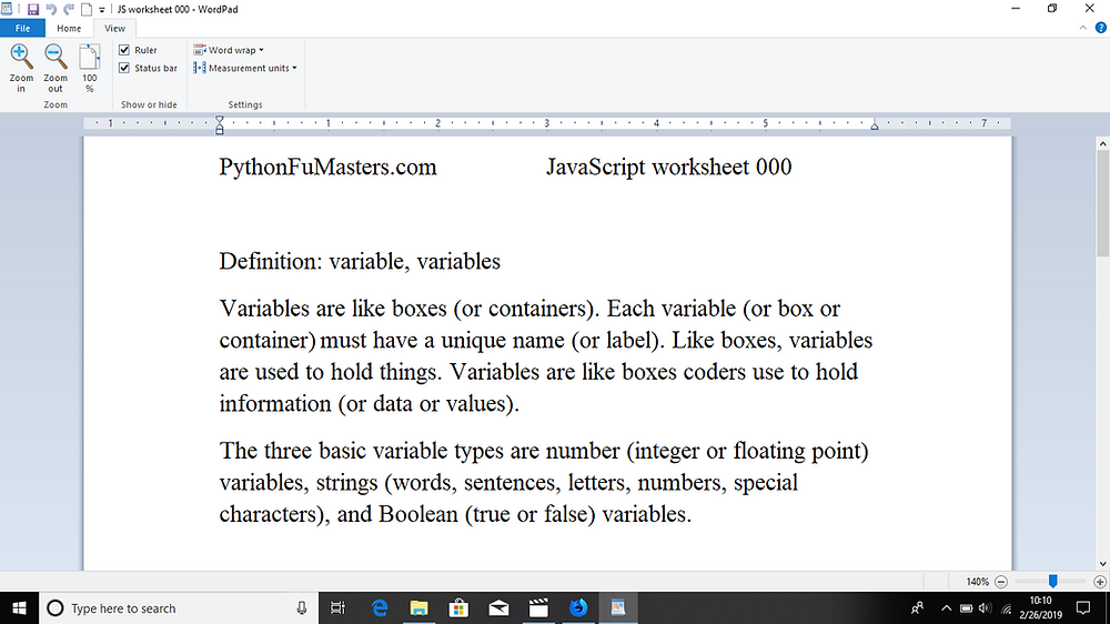 JavaScript Worksheet 000 - Variables