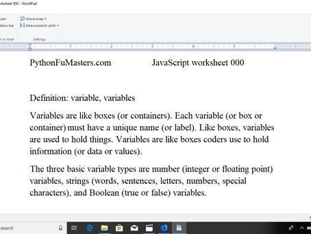 JavaScript Worksheet 000 - Variables