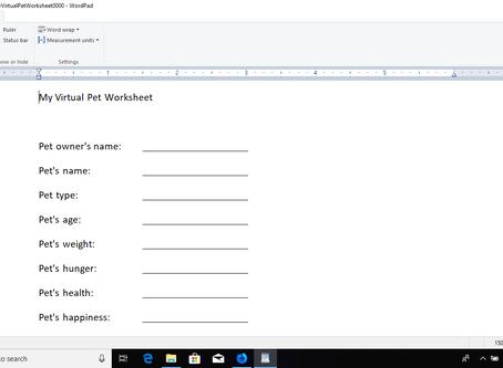 My Virtual Pet Worksheet #0000