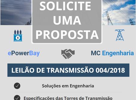 LEILÃO TRANSMISSÃO 004/2018 - Edital e RAP máxima Aprovados